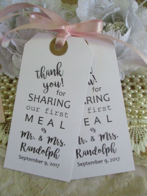 10 Calligraphy Thank You for Sharing White Tag Personalized